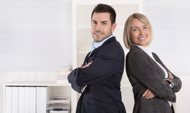 Professional senior and junior business team in portrait in the Royalty Free Stock Photos