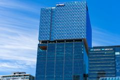 Professional services companies corporate offices KPMG, Mercer and Marsh. Melbourne, Australia - December 7, 2016: Professional services companies corporate royalty free stock photos