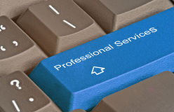 Professional services. Keyboard with key for  professional services Stock Photography