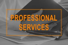 Professional services. Manager working with documents. Professional services. Manager is working with documents royalty free stock photo