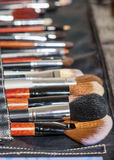 Professional Set of Multiple Makeup Paintbrushes of Different Si Royalty Free Stock Photo