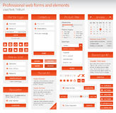 Professional set of orange web forms and elements Royalty Free Stock Images