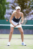 Professional Sexy Female Tennis Player With Raquet Standing  Stock Images