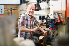 Professional  shoemaker heeling footwear on machine Stock Image