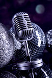 Professional silver microphone Royalty Free Stock Image