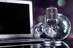 Professional silver microphone Royalty Free Stock Photo