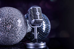 Professional silver microphone Royalty Free Stock Images