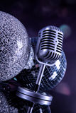 Professional silver microphone Stock Photos