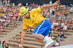 A professional skater at the Inline skating jumps competition Stock Photos