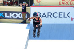A professional skater at the Inline skating jumps competition at LKXA Extreme Sports Barcelona Games Stock Photography