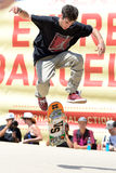 A professional skater at the skating competition at LKXA Extreme Sports Barcelona Games. BARCELONA - JUN 28: A professional skater at the skating competition at Stock Photography