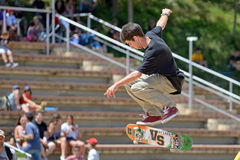 A professional skater at the skating competition at LKXA Extreme Sports Barcelona Games. BARCELONA - JUN 28: A professional skater at the skating competition at Royalty Free Stock Image