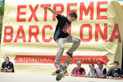 A professional skater at the skating competition at LKXA Extreme Sports Barcelona Games. BARCELONA - JUN 28: A professional skater at the skating competition at Stock Images