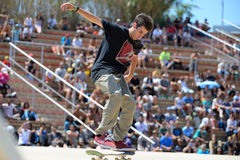 A professional skater at the skating competition at LKXA Extreme Sports Barcelona Stock Photo