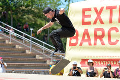 A professional skater at the skating competition at LKXA Extreme Sports Barcelona Stock Images