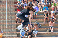 A professional skater at the Women inline skating competition. BARCELONA - JUN 28: A professional skater at the Women inline skating competition at LKXA Extreme Royalty Free Stock Photo