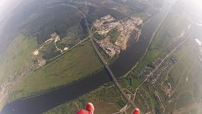 Professional skydivers in uniform free falling in sky. Hold balance. Speed. Adrenaline stock video