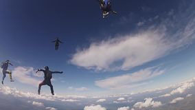 Professional skydivers in uniform free falling in sky. Hold balance. Sunny. Adrenaline stock footage