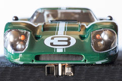 Slot car. Frontal slot car racing on a track Royalty Free Stock Image