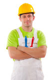 Professional smiling painter isolated over white b Royalty Free Stock Photography
