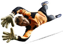 Professional soccer goalkeeper in action on white background. Professional goalkeeper in action isolated on white background stock photo