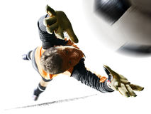 Professional soccer goalkeeper in action on white background. Professional goalkeeper in action isolated on white background royalty free stock photos