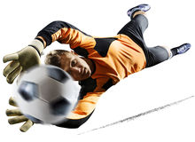 Professional soccer goalkeeper in action on white background. Professional goalkeeper in action isolated on white background stock image
