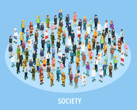 Professional Society Isometric Background. With people of different occupations and jobs isolated vector illustration Stock Images