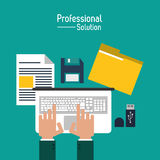 Professional solution technology design. Laptop file diskette professional solution technology icon. Colorful design. Vector illustration Royalty Free Stock Images