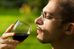 Professional sommelier. Tasting red wine. Close-up portrait Royalty Free Stock Photo