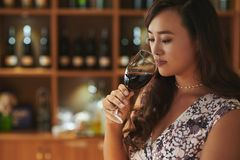 Professional sommelier. Female sommelier smelling wine before tasting it stock photos