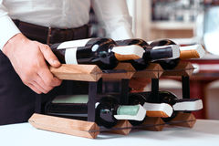 Professional sommelier holding wine holder Royalty Free Stock Photography