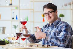 The professional sommelier tasting red wine. Professional sommelier tasting red wine Royalty Free Stock Images