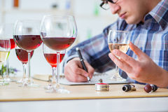 The professional sommelier tasting red wine Stock Photography
