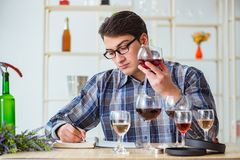 The professional sommelier tasting red wine. Professional sommelier tasting red wine Stock Image