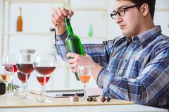 The professional sommelier tasting red wine Royalty Free Stock Photography