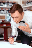 Professional sommelier tasting wine Royalty Free Stock Photography