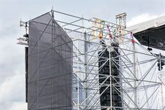Professional sound equipment on outdoor stage stock image