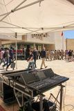 Professional sound mix at repetition of police orchestra parade in Valletta cit centre royalty free stock images