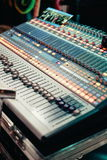 Professional Sound mixing console with many knobs Royalty Free Stock Photography