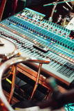 Professional Sound mixing console with many knobs Royalty Free Stock Image