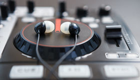 Professional sound mixing DJ midi controller turntable Stock Images