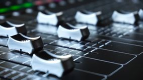 Sound production switcher of television broadcast. Professional sound production switcher of television broadcast studio stock footage
