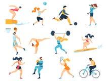 Professional Sport Activities. Men Women Sportsmen vector illustration