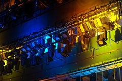 Professional stage spotlight lamps rack Stock Photography