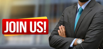 Professional standing with Join Us - Recruitment banner Royalty Free Stock Photos