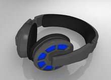 Professional stereo headphones. 3D illustration of a headset professional open-circuit Royalty Free Stock Images