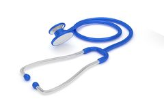 Professional stethoscope withe reflection on a white background. Stock Photos
