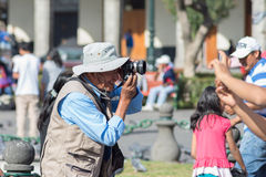 Professional street photographer in Arequipa, Peru Royalty Free Stock Photography