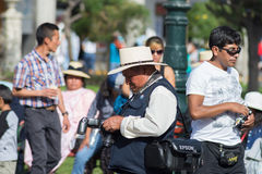 Professional street photographer in Arequipa, Peru Royalty Free Stock Images